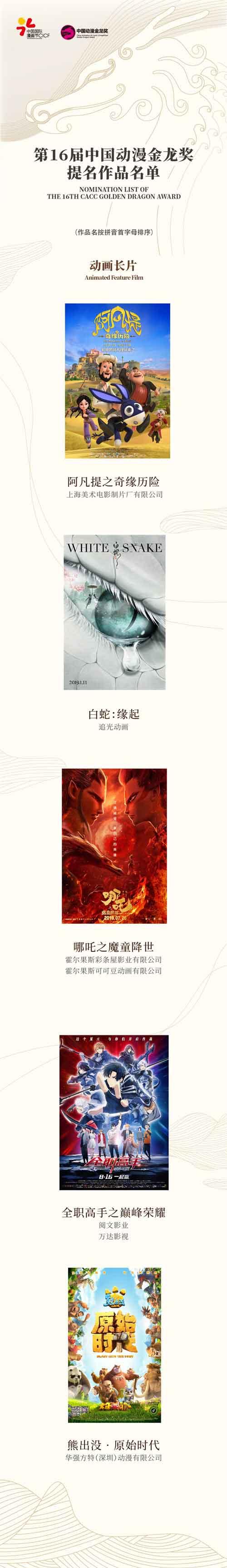 第16届中国动漫金龙奖提名名单揭晓! 原创专区-第1张